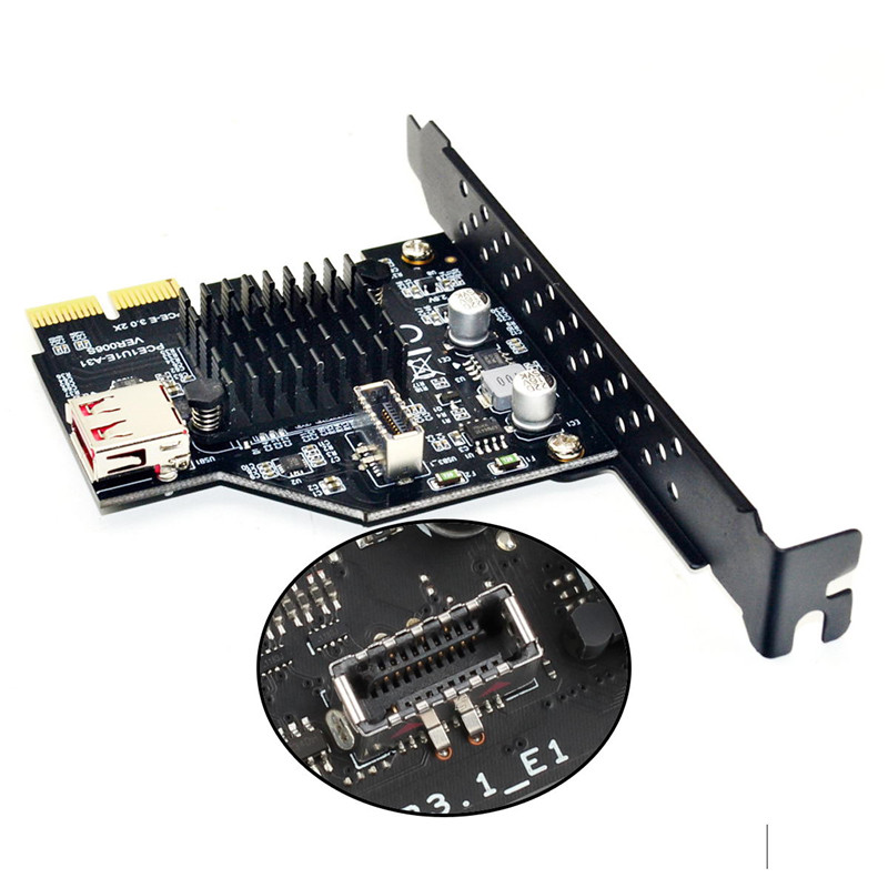 Cy USB 3.1 Front Panel Socket & USB 2.0 To PCI-E Express Card Cable Adapter For Motherboard