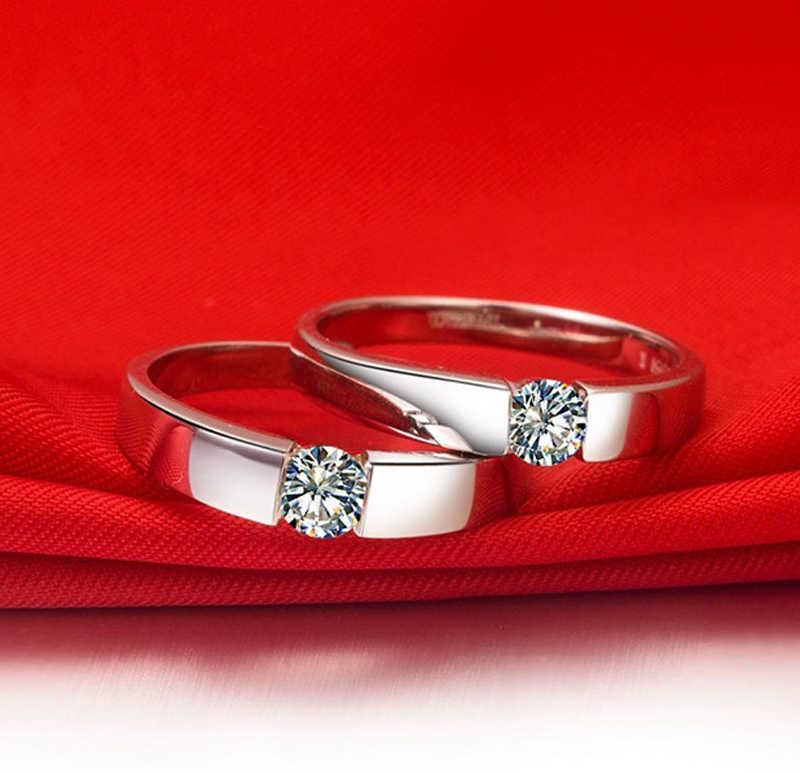 YANHUI Con Il Certificato Originale di 925 Anelli D'argento per Gli Uomini 1 Carat Moissanite Anelli Fascia di Cerimonia Nuziale Dell'anello di Barretta Maschio Gioielleria Raffinata
