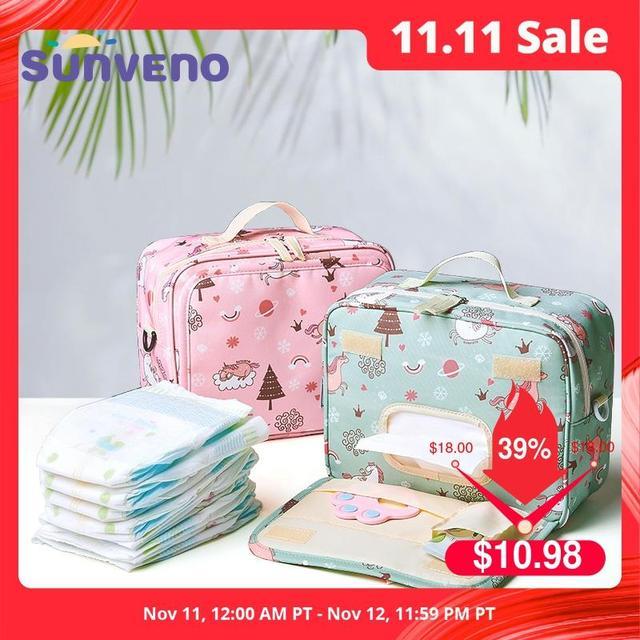 Sunveno موضة الرطب حقيبة حفاضة مقاومة للماء حقيبة قابل للغسل القماش حفاضات الطفل حقيبة قابلة لإعادة الاستخدام أكياس الرطب 23x18 سنتيمتر المنظم لأمي