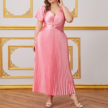 Pink Pleated Women Dress Elegant A-Line Short Sleeve Party Dresses Femme African Plus Size 4XL Sexy V-Neck Long Vestidos Office pink bridesmaid dresses plus size ever pretty elegant a line v neck short sleeve chiffon long wedding party dress women vestidos