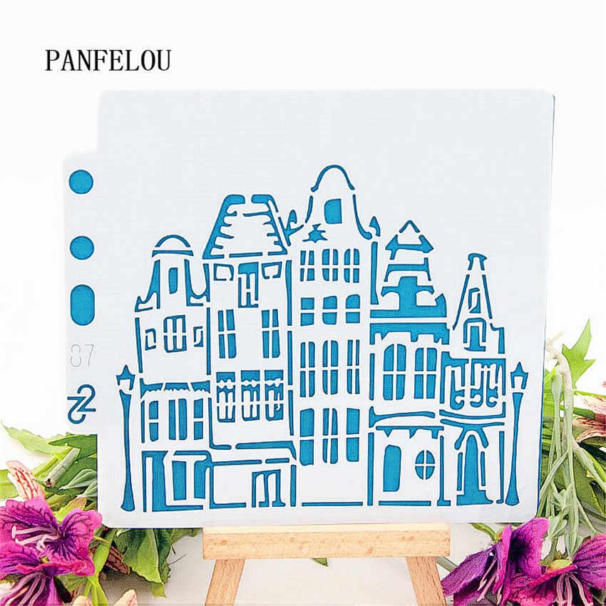 Las plantillas de álbum de recortes del castillo espray plastic mold shield DIY pastel hueco adorno Impresión de encaje Regla de san valentín