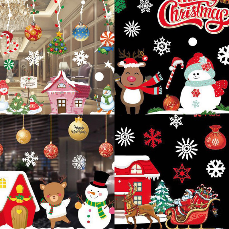 Color Christmas Sticker 53X37X2 Sheet/Roll Round Paper Tube Packaging No Rubber Static Window Sticker Christmas Decoration