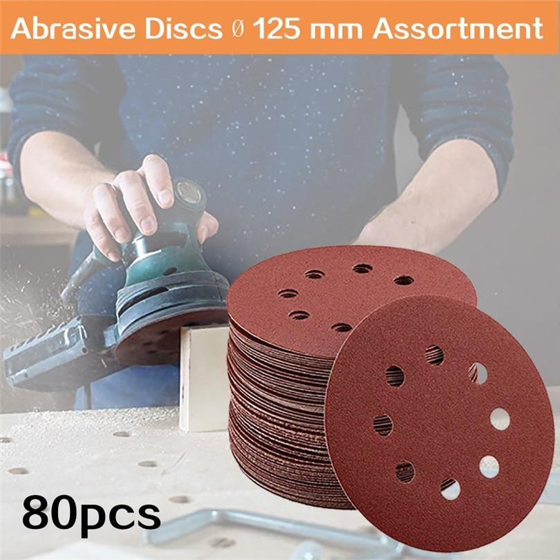 80pcs 5 Inch 8 Hole Disc Sandpaper Abrasive Discs 125 Mm Assortment Multiple Granularity For Orbital Sanders  #3D20