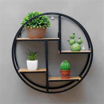 Minimalist decor Wall Mounted solid wood iron art Storage Rack roundness Chinese style wall space hanging storage rack decorate