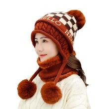 BINGYUANHAOXUAN Fashion Womens Winter Hats Scarf Knitting Hat Pom Poms Ball Beanie Caps Thick Skullies Female Cap