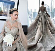Luksusowy kryształ zroszony suknie ślubne syrenka z odpinanym pociągiem Sexy długie rękawy na szyję arabski suknia ślubna Mulslim