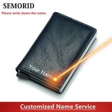 Men Wallets Card-Holder Rfid Mini SEMORID Pu Short Purse Money-Bag Thin Slim Black Vintage