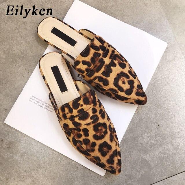Eilyken Designers 2020 Spring/Autumn Sexy Leopard Flocked Slides Woman Flat Shoes Slip On Loafers Mules Flip Flops 35 42