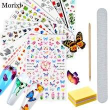 4 шт/компл стикер для дизайна ногтей с буфером от morixi маникюрные