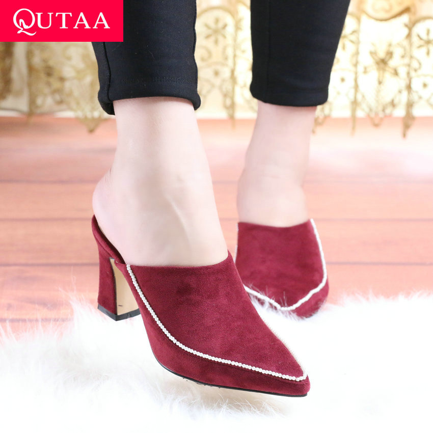 QUTAA 2020 Scrub String Bead Elegant Sandal Summer Slingback Women Shoes Sexy Pointed Toe Square Heel Ladies Pumps Size 34-43