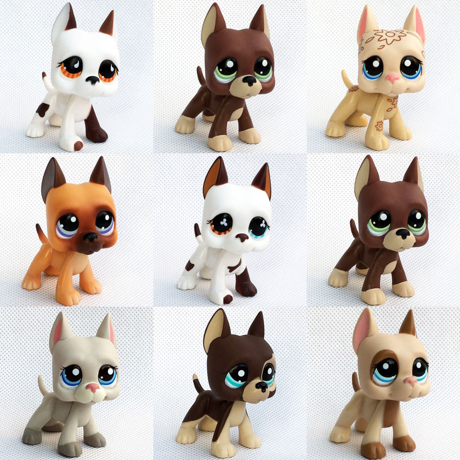 Real Rare Pet Shop Lps Toy Stand Small Short Hair Cat Pink Black Old Original Dog Dachshund Shepherd Great Dane Free Shipping