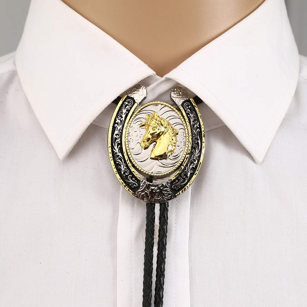 U Shape Gold 3D Eagle Horse Animal  Bolo Tie For Man Cowboy Western Cowgirl Lather Rope Zinc Alloy Necktie Vintage Color