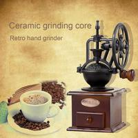 Manual coffee bean grinder retro style wooden corn grinder drum grinder ceramic grinder kitchen tool without odor more uniform