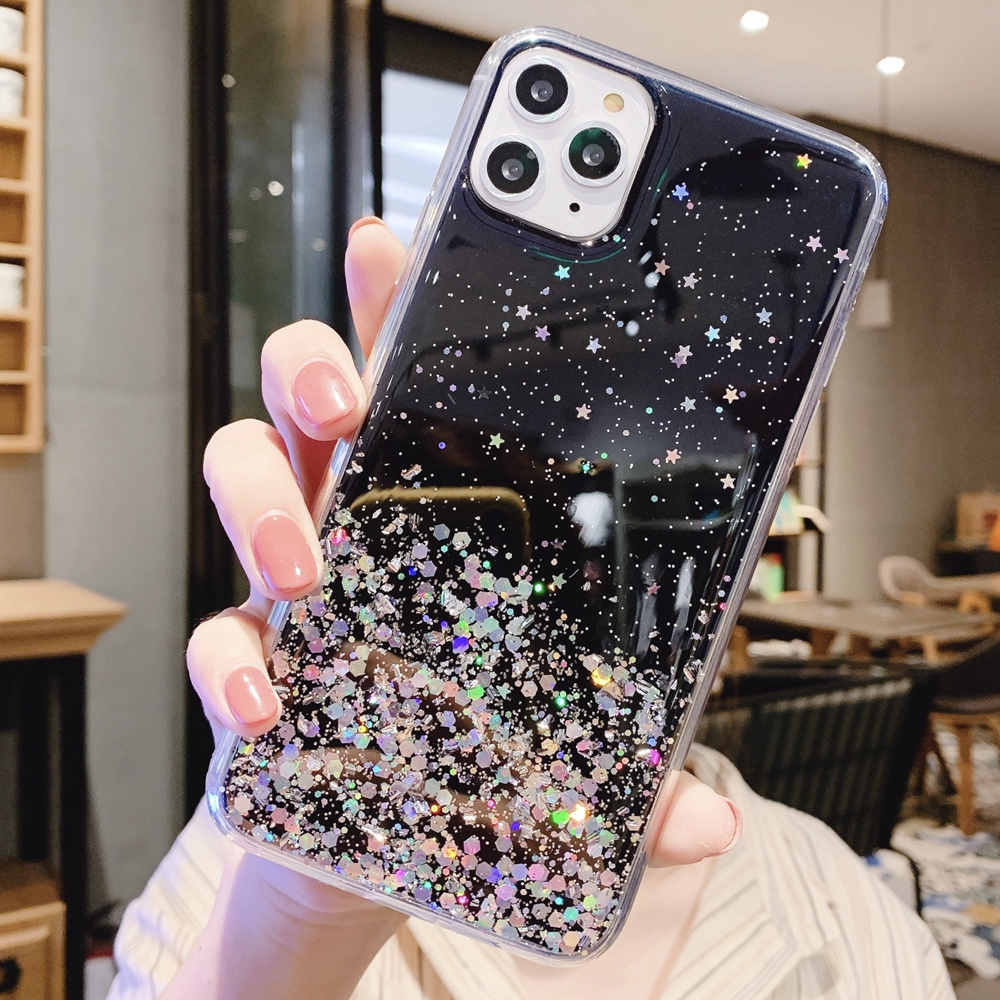 Hebd2c47bcdcd4c5a9dd63c3c276c45c1P - Solid quicks Case For iphone 11 8 7 Plus 6 6s Glitter Bling Sequins Epoxy Star Case For iphone 11 Pro MAX X XR XS Soft TPU Cover