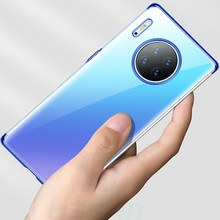 Clear Transparent Case for Huawei Mate 30 Pro Soft TPU Plating Cover Full Protective Bumper Conque