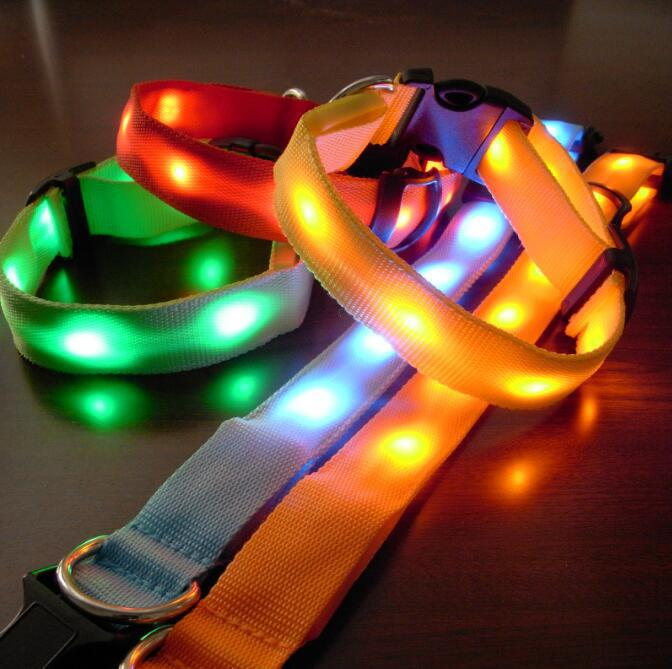 New Style Double-Sided Lamp Point Glowing Pet Collar Large And Medium Small Dogs Dog Night Light Flash Neck Ring