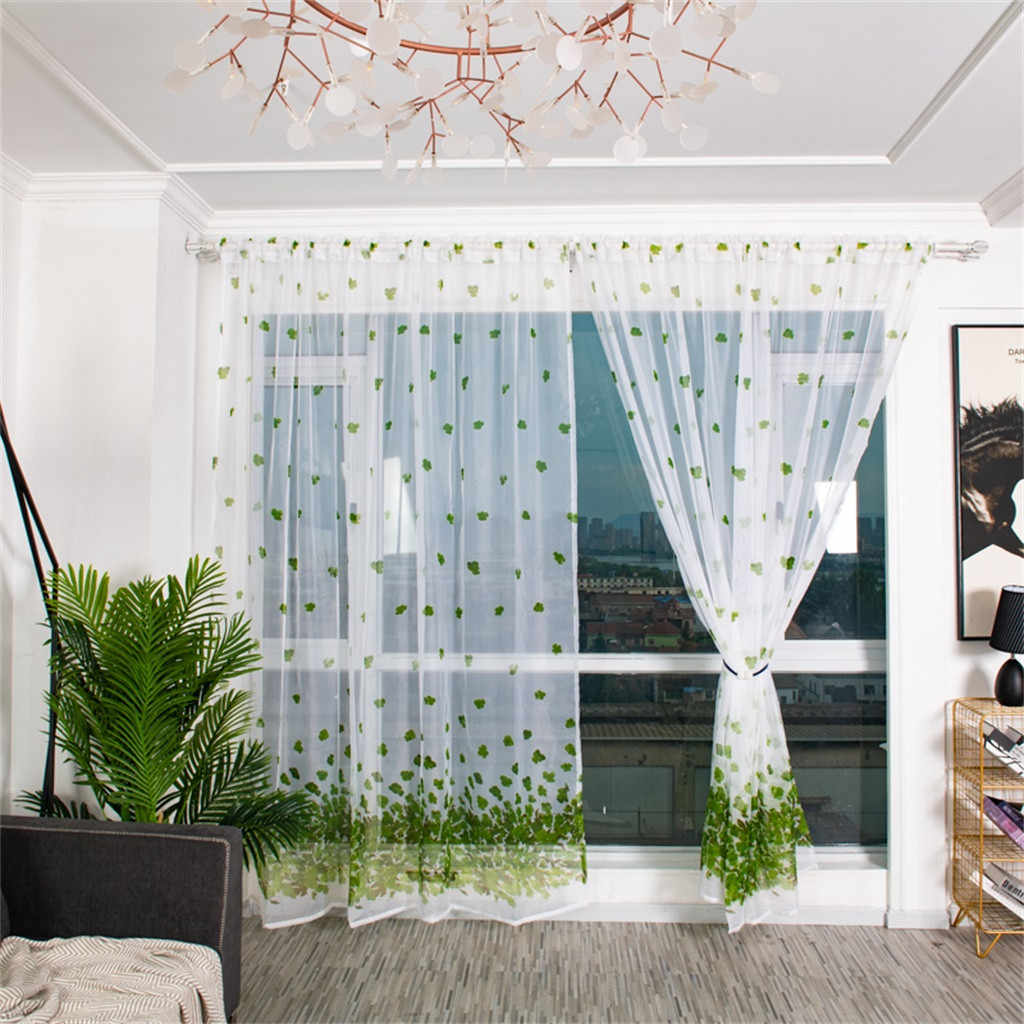 Europe Trees Sheer Curtain Tulle Window Treatment Voile Drape Valance Fabric Curtains For Living Room Kitchen Modern Window