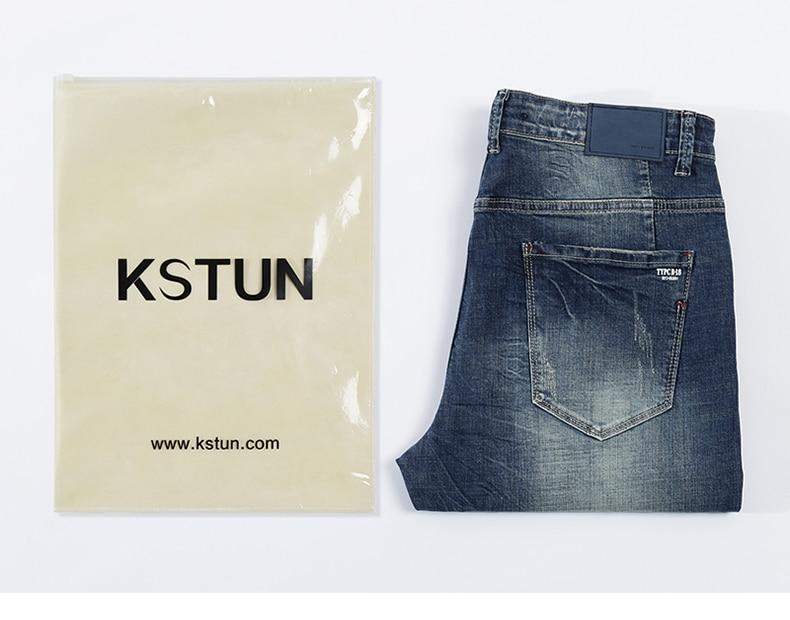 KSTUN Mens Jeans Brand Stretch Retro Blue Slim Straight Regular Fit Casual Vintage Male Long Trousers Denim Pants Large Size 40 20