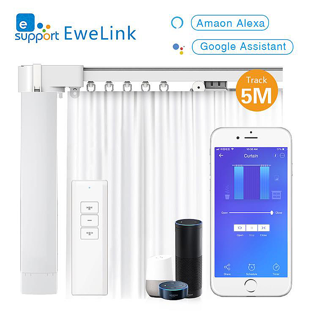 WiFi Smart Motorized Electric Curtain Set With 5Meters Rail(Ewelink APP) Track Google Hoome