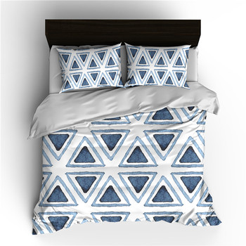 Ms.O Gold 3PCS Duvet Cover Set Geometry Square Triangle Wave Arrow Plaid Check Black and White Watercolor Zig Zag Bedding Set