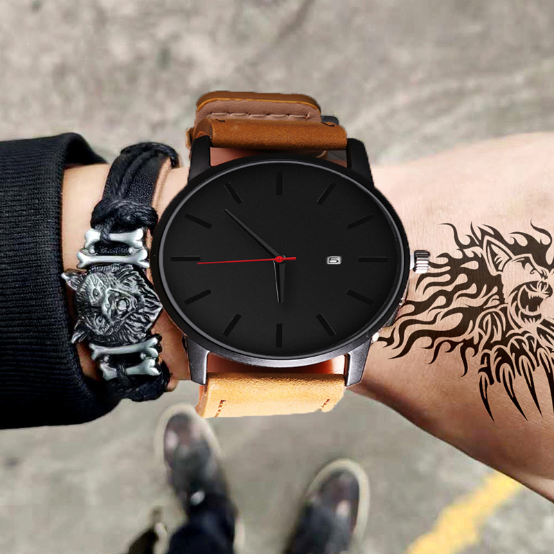 Men Watches Top Luxury Brand Men's Sports Quartz Clock Man Leather Army Military Wrist Watches Relogio Masculino Erkek Kol Saati