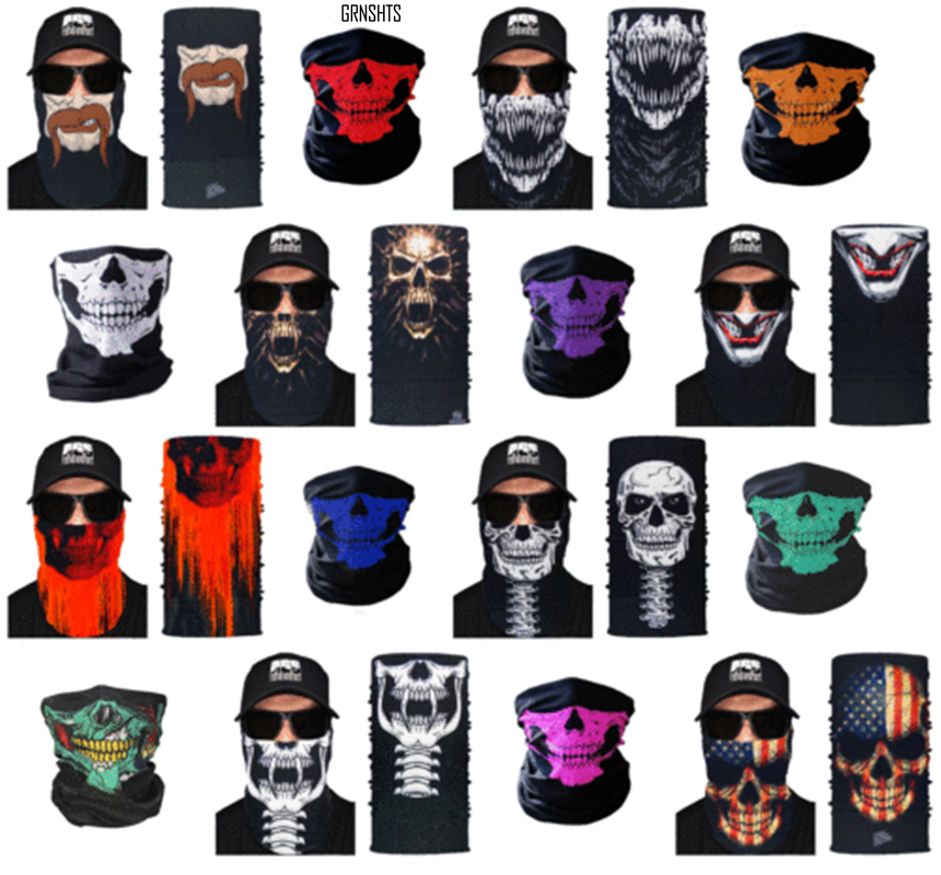 Skull Design Series Scarf Variety Tube Half Face Mask Halloween Headband Bandana Headwear Bicycle Head Scarf Snowboard Headscarf