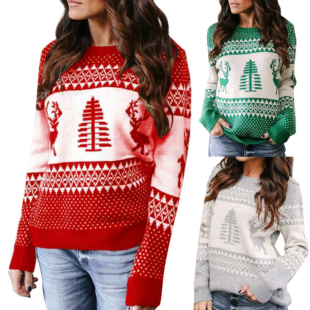 Women Elk Xmas Tree Print Round Neck Long Sleeve Blouse Top Knitted Sweater