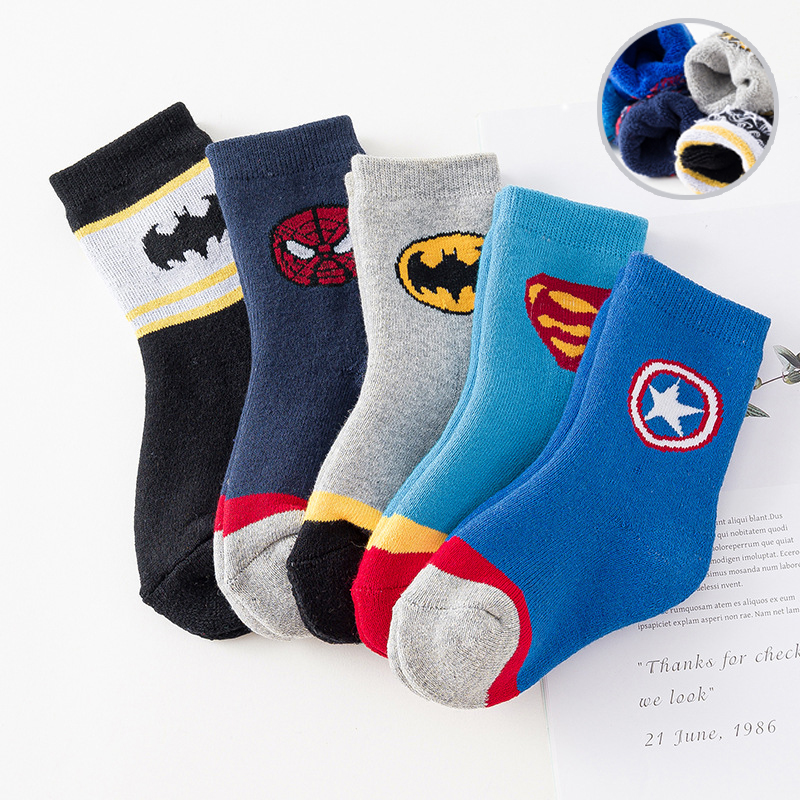 1 Pairs 3 To 12 T Socks Kids Cartoon Socks Girls Autumn/winter Wool Socks Boys Breathable Socks Children Boys Cotton Socks