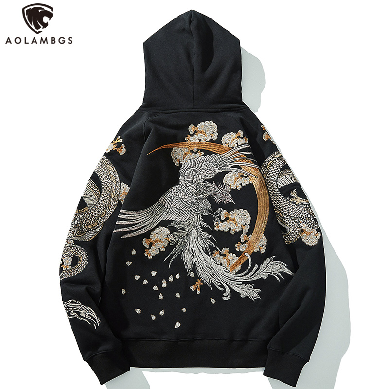 Aolamegs Men's Fleece Hoodies Japanese Hooded Sweatshirt Dragon Phoenix Embroidery Autumn Retro Casual Pullover High Street Tops