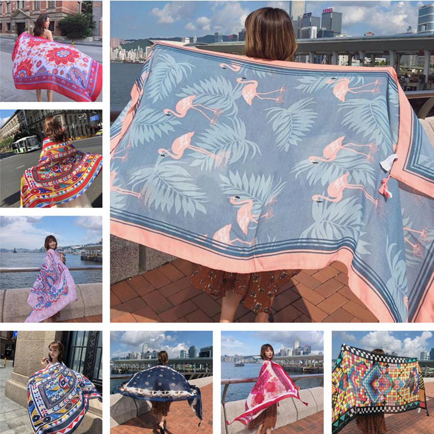 Hot New 90x180cm Twill cotton Pareo 2018 Summer Cover-Ups Rectangle Wrap Scarf Swimsuit Bikini Cover Up Autumn Beach Sarong Mats