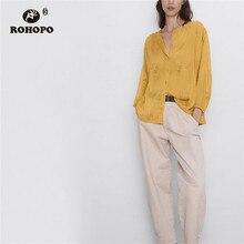 цена на ROHOPO Puff Sleeve Embroidery Floral Orange Chffion Blouse Round Collar Pleated Hem Ladies Chic Top Shirt #9764
