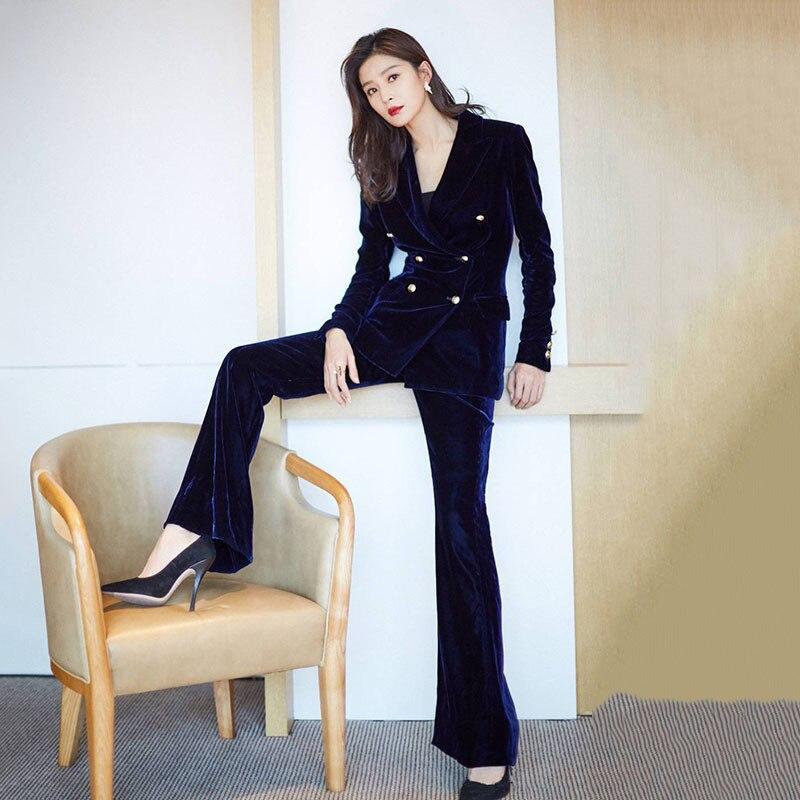 Velvet Pants Suit Set Women Office Ladies Formal Work Business Wear Female Vintage Double Breasted Blazer Jacket 2 Piece Clothes