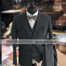 MEN Suits Blazer Jackets Pants Wool-Blend Business Wedding Smoking YIWUMENSA Vintage
