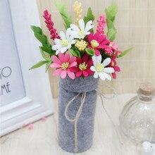 DIY Felt Daisies Ornaments Bouquets Craft Handmade Bellis Perennis Daisy Flowers Home Decor Appliques Special Gift