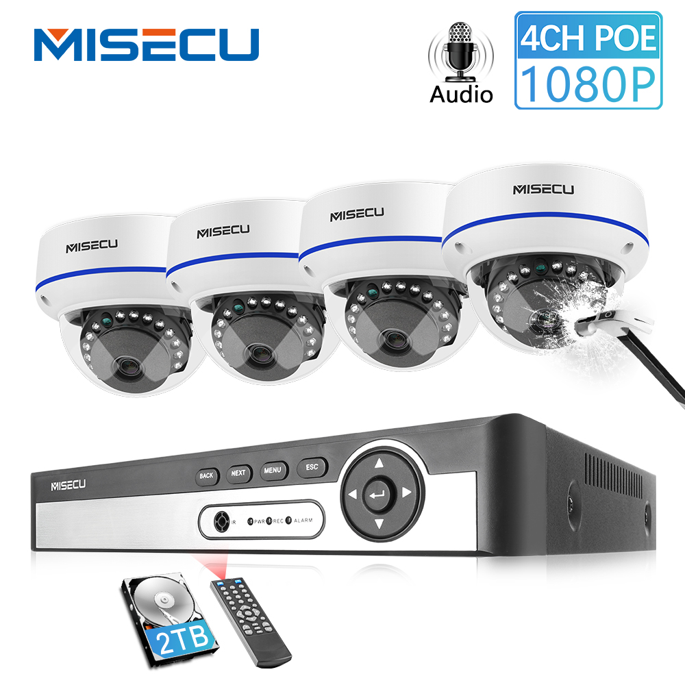 MISECU 4CH 5MP POE NVR Video Security System 2/4PCS 2MP 1080P POE IP Dome Camera Audio Vandal Proof CCTV Camera Surveillance Kit