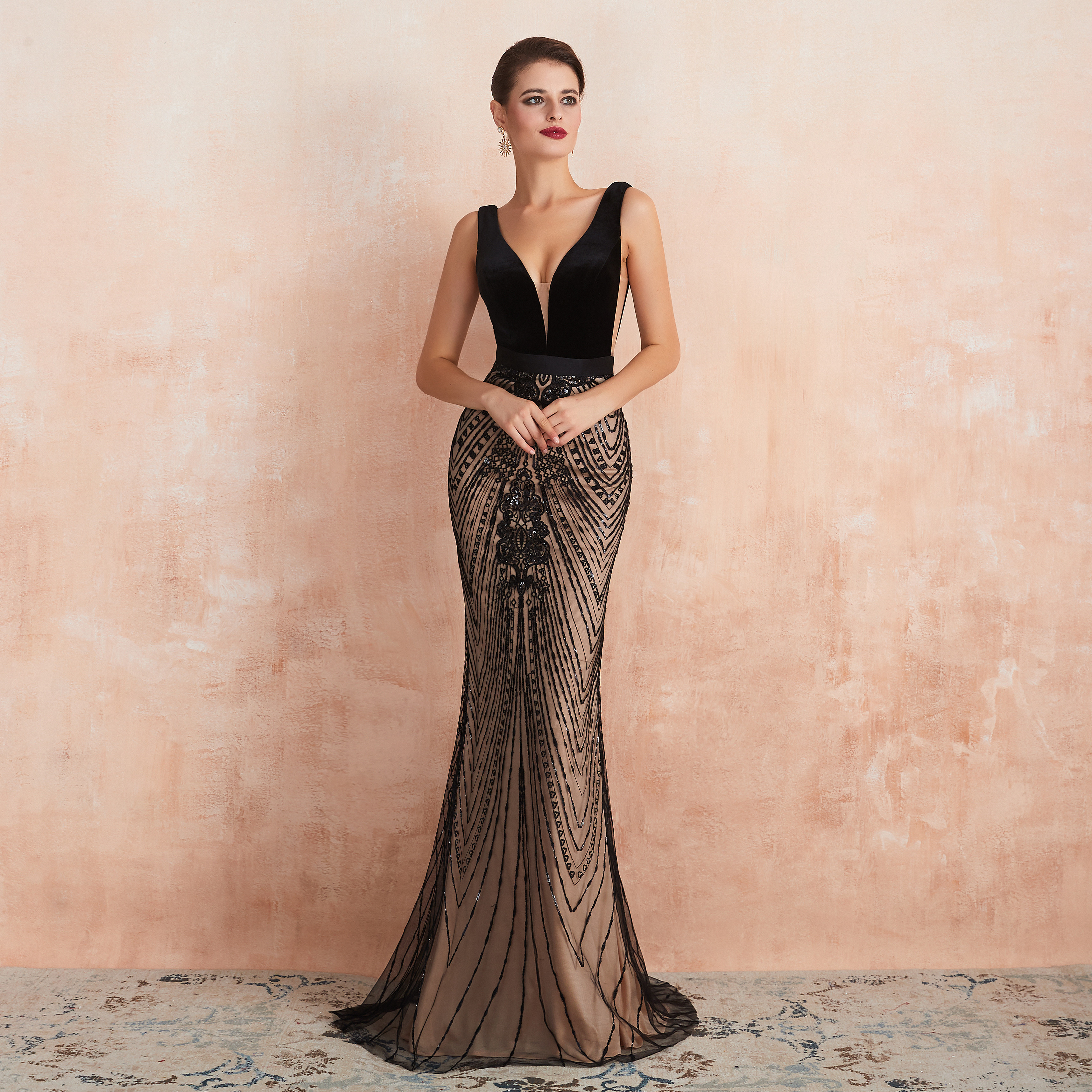 Mermaid Prom Dresses 2019 V Neck Evening Gowns Sequins formal Floor Length  Long Formal Party Dress robe de soiree