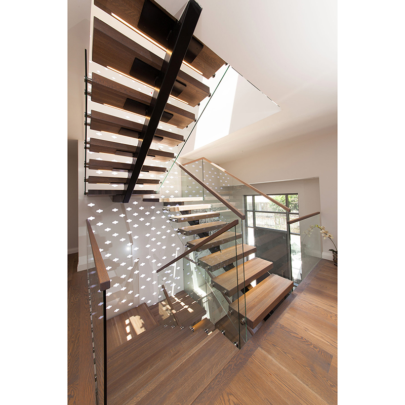Indoor Stainless Steel Stringer Stair Glass Railing Wood Stair | Stair Railing Wood And Steel | Tall Stair | Spiral Stair | Easy Stair | Office Interior Stair | Different Staircase
