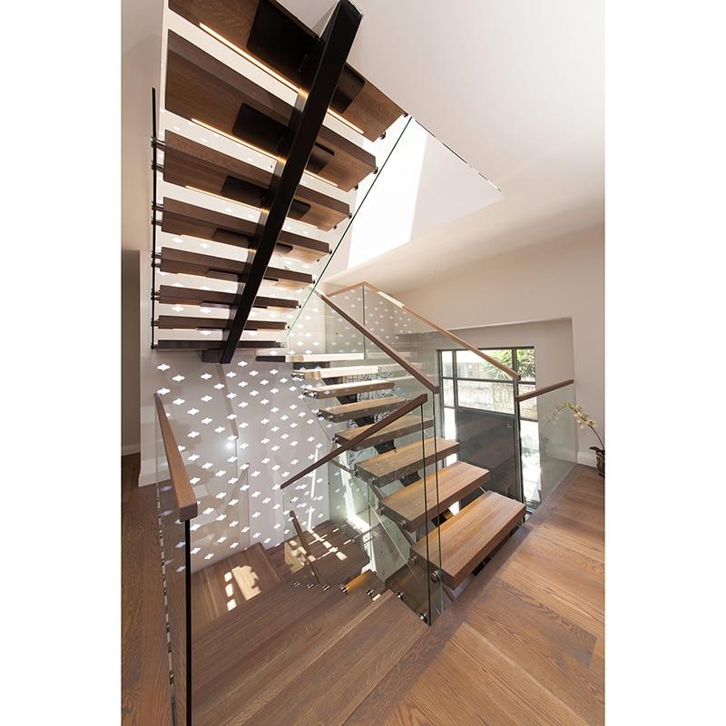 Indoor Stainless Steel Stringer Stair Glass Railing Wood Stair   Stair Railing Wood And Steel   Stair Inside   Baluster   Tall Stair   Indoor Stair   Solid Wood