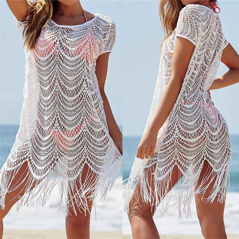 White Lace Cover Ups Tassel Swimwear Summer Sexy Bikini Pareo Beach Cover Ups Beachwear Women Dress Bathing Suit Cover up #Q560