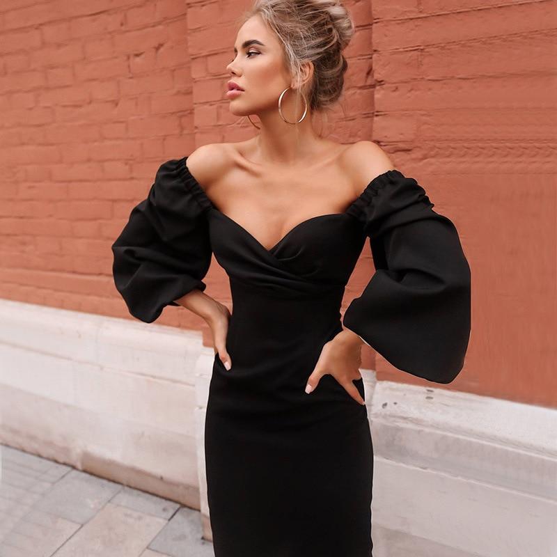 RICORIT Women Sexy Bodycon Dress Pure V Neck Off Shoulder Lantern Sleeve Dress Party Night Elegant Midi Dress Mujer Black Dress