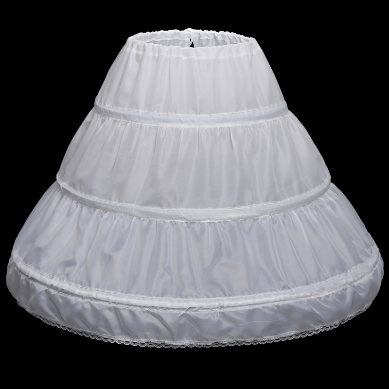 jupon mariage children Children Petticoat 3 hoepelro white lace 65CM length jupon fille wholesale lolita petticoat