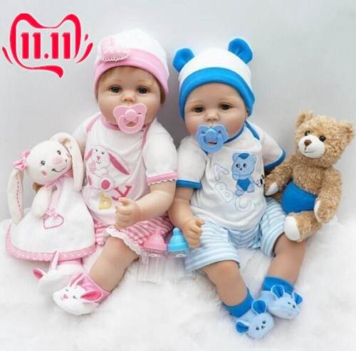 22/'/' Twins Lifelike Newborn Babies Silicone Vinyl Reborn Baby Girl+Boy Dolls US