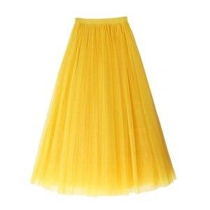 Image 5 - Jesienno zimowa bardzo długi siatkowy koronkowy Vintage rozkloszowana spódnica kobiety żółty tiul w pasie plaża podróżna piłka duża huśtawka spódnice