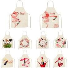 1Pcs Kitchen Apron Nail Polish women flowers Printed Sleevel