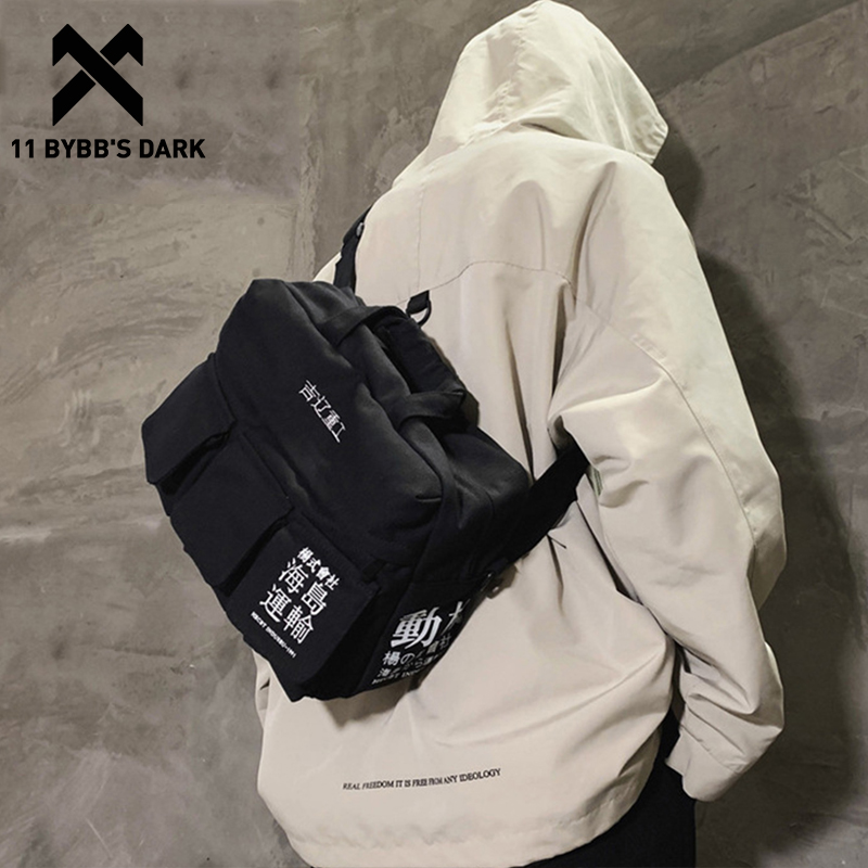 11 BYBB'S DARK Vintage Hip Hop Shoulder Bag Streetwear Canvas Multi Pockets School Messenger Chest Crossbody Bag Men Women