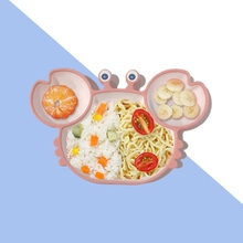 Dishes Crab Dinner-Plate Baby Silicone Sucker Divided Training-Bowl Learning-Feeding-Tray