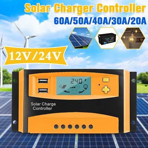 20a 30a 40a 50a 60a 12 v 24 v display lcd reguladores de carga solar