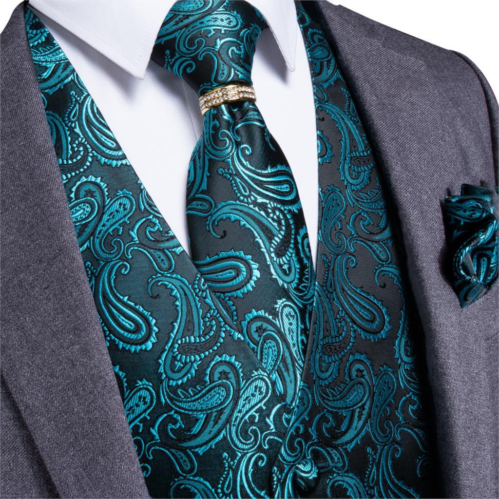 Men/'s paisley Tuxedo VEST Waistcoat /& BOWTIE and HANKIE set Turquoise Blue