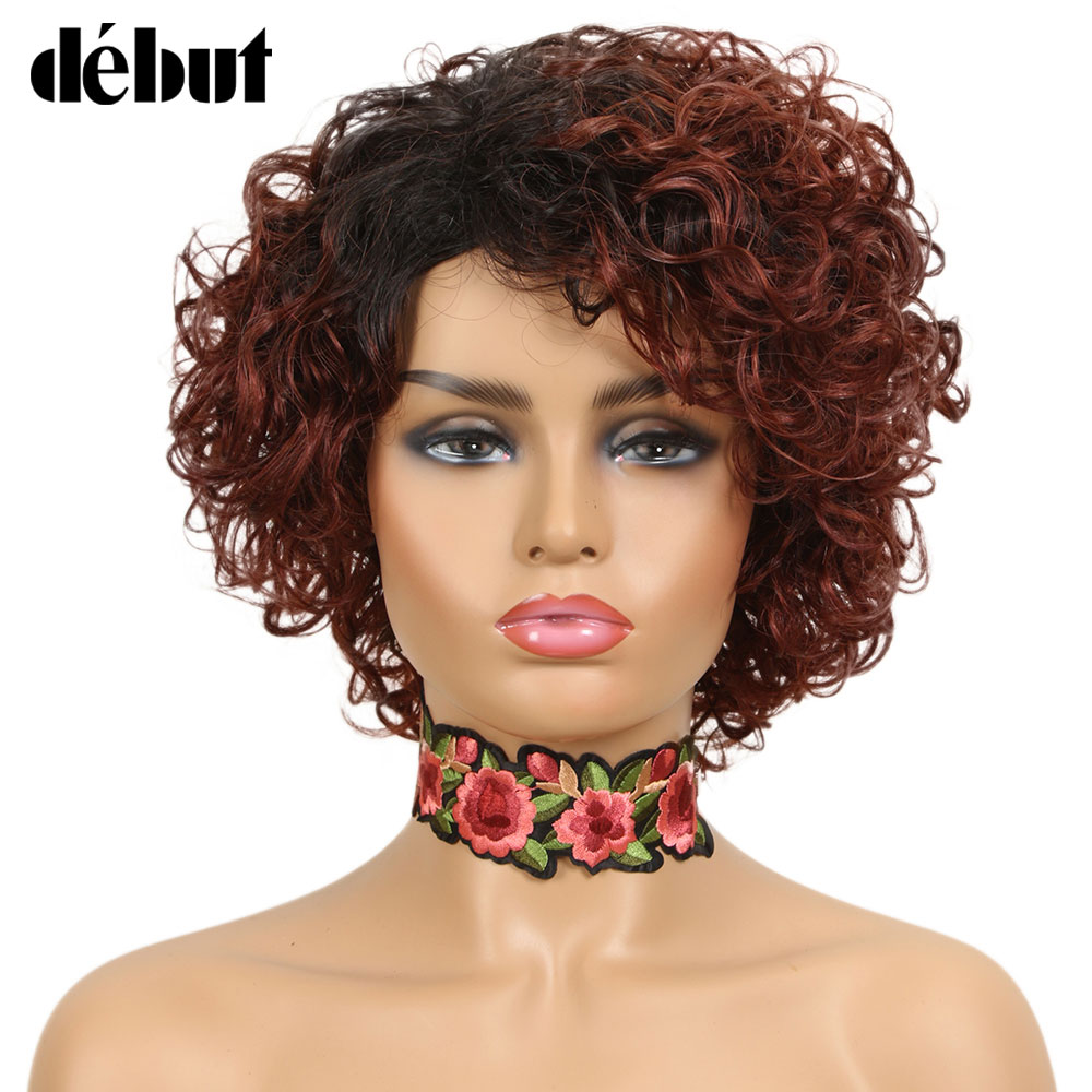 Debut Short Curly Bob Wigs Ombre Human Hair Wigs Cheap Curly Pixie Cut Style Black Full Wigs TT1B/33 DX1029 Brown Blonde Color