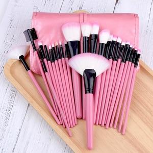 Image 5 - 24 pçs conjunto de escova de maquiagem pó fundação grande sombra de olho angular sobrancelha make up escovas kit com um saco feminino beleza cosméticos ferramenta